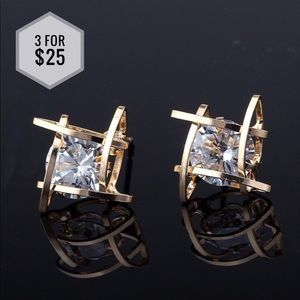 Jewelry - 🌼3 for $25🌼Triangle Crystal Stud Earrings